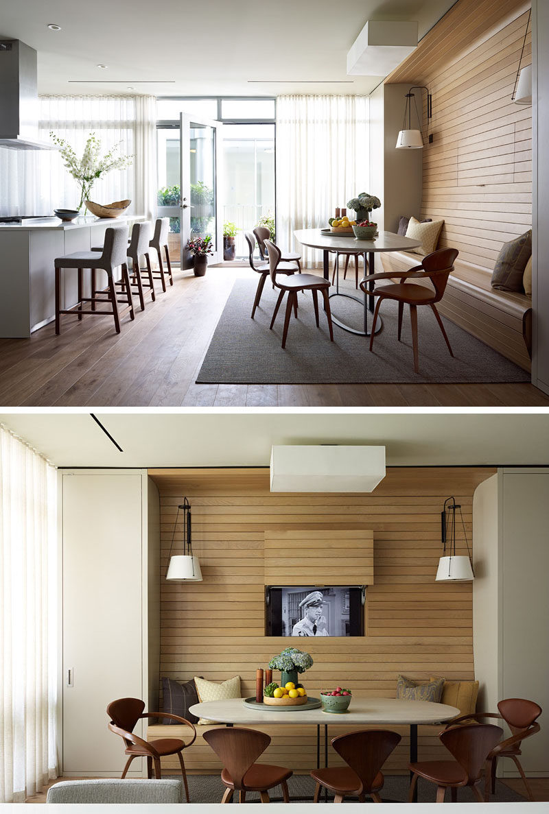 Light Wood Paneling Lines The Wall And Bench Of This Built In Dining Nook