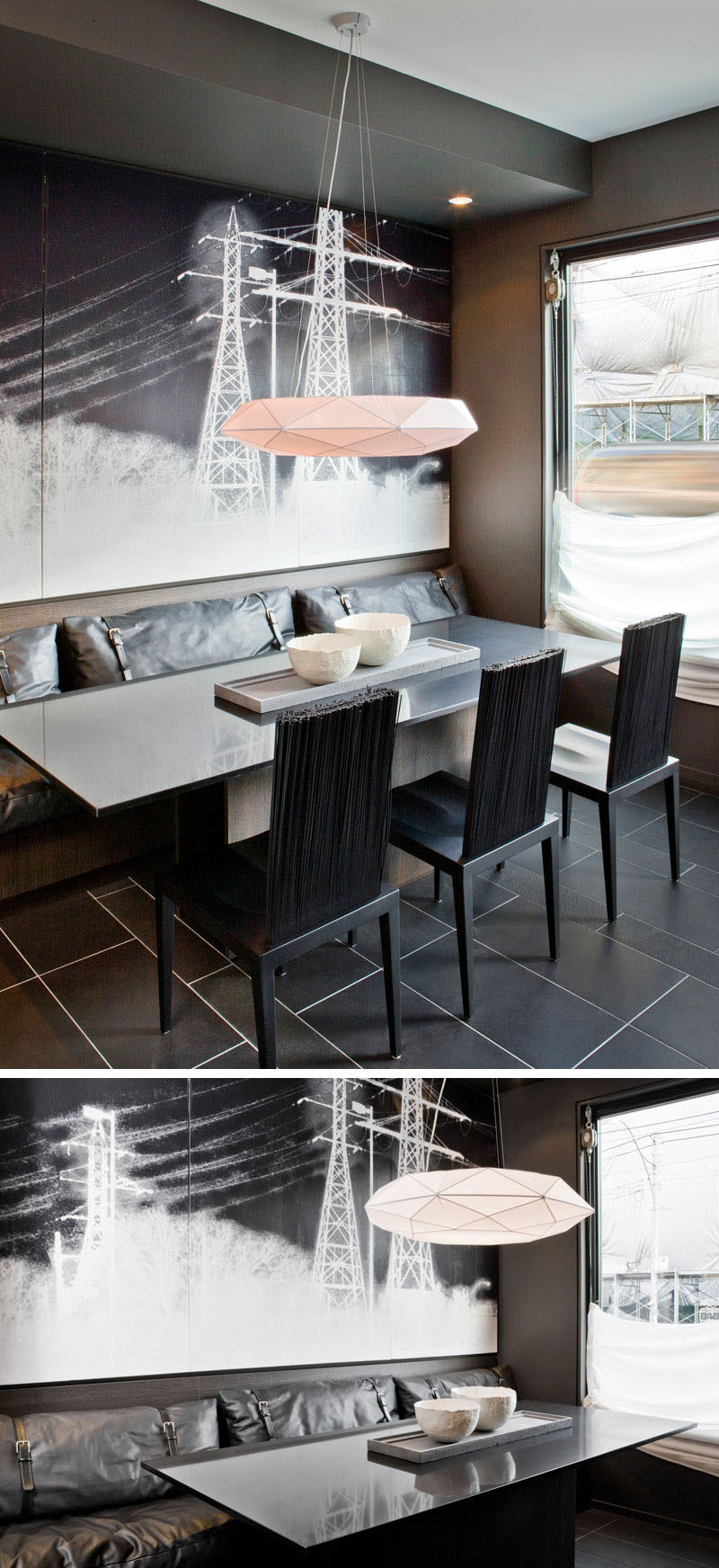 Dining Room Design Ideas - Use Built-In Banquette Seating To Save Space // The dark built-in dining area in this home is made especially unique by the leather cushions on the banquette and the dining chairs with bristle-like backs.