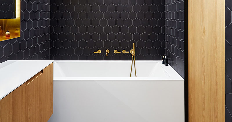 Bathroom Design Idea - Black, Brass, White and Wood