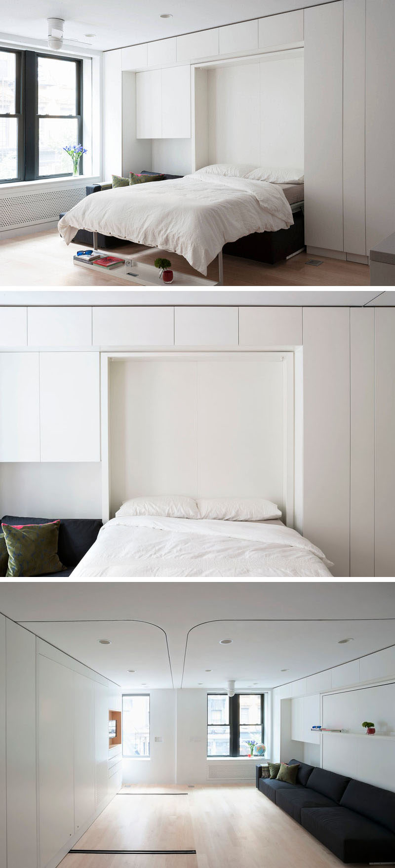 Bedroom Design Ideas - 8 Ways To Create The Ultimate Bed Surround With Storage // Store Your Bed -- If you're really tight on space consider using a murphy bed. When they're not being used you can't even tell they're there and they blend in with the cabinetry.