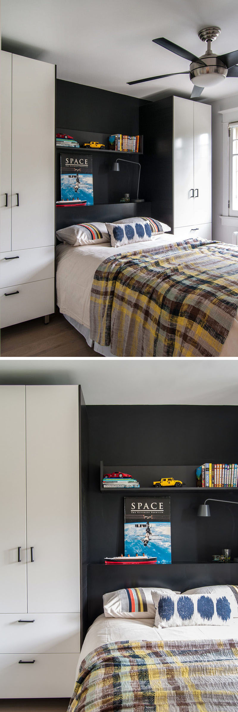 Bedroom Design Ideas - 8 Ways To Create The Ultimate Bed Surround With Storage // Define The Sleeping Area -- Use a bold color or a different material than what's been used on the rest cabinets sets your bed apart from the storage and adds color and texture to your room.