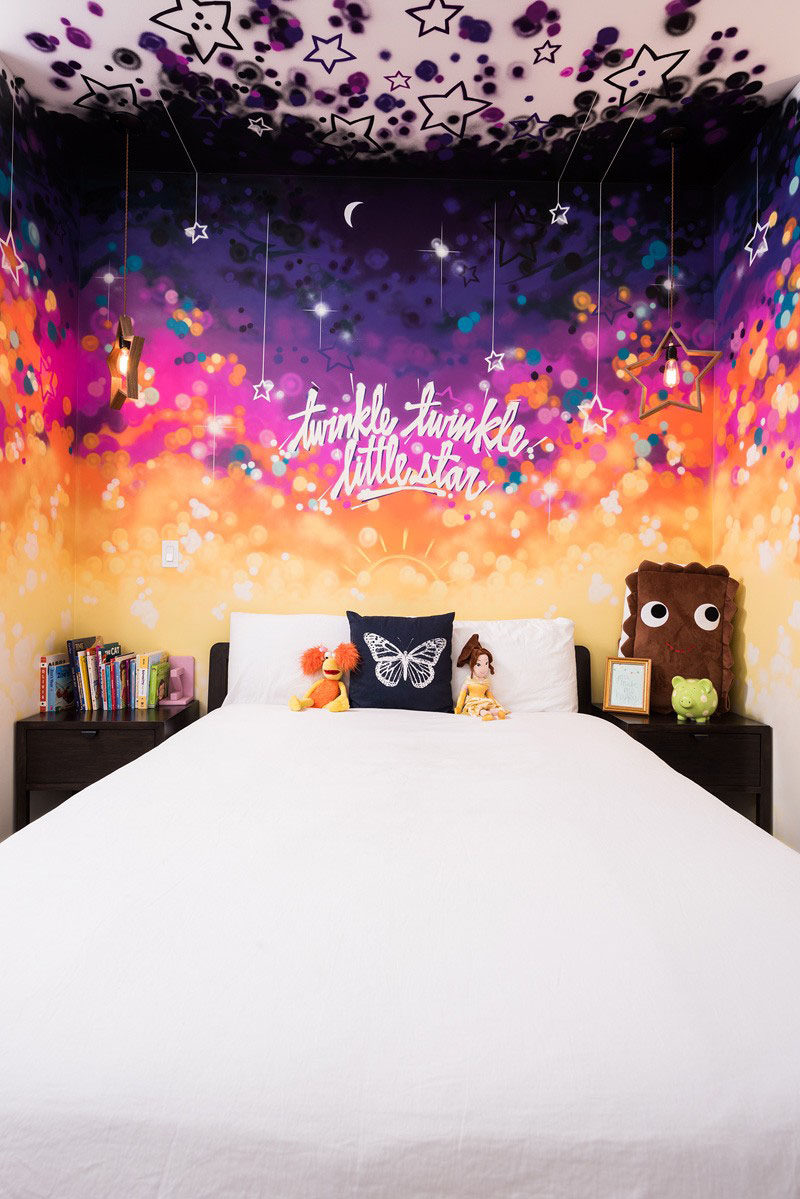 Bedroom Design Ideas - 8 Ways To Decorate The Wall Above Your Bed // Mural -- Painting the entire wall behind the bed adds color and is completely customizable in terms of its design and color.