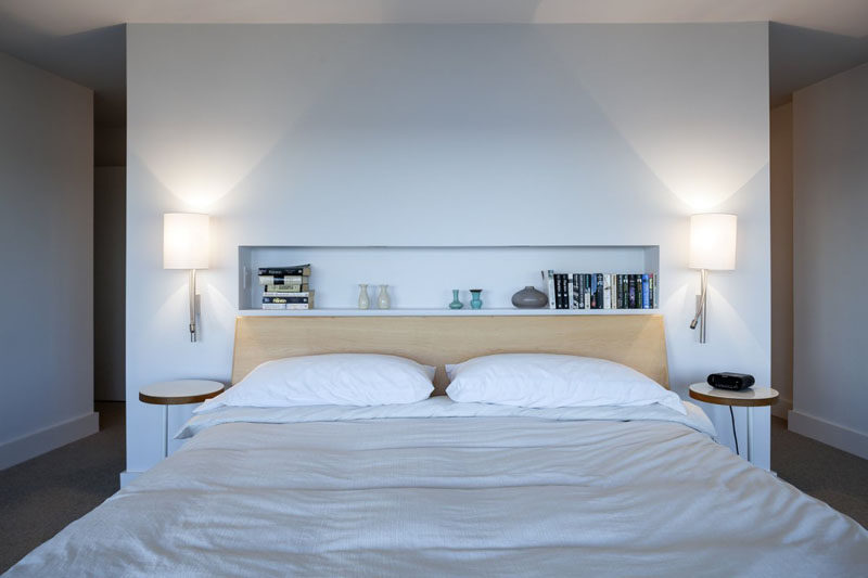 Bedroom Design Ideas - 8 Ways To Decorate The Wall Above Your Bed // Built-in shelving - Different from regular shelves in that these are built right into the wall, built-in shelving above the bed provides a spot to store a few small things you like to keep near by at night.