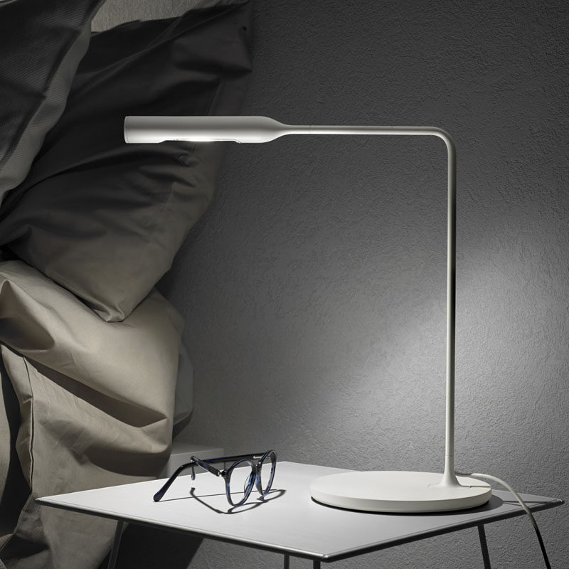 12 Bedside Table Lamps To Dress Up Your Bedroom // Flo bedside table designed by Foster & Partners. Manufactured by Lumina.