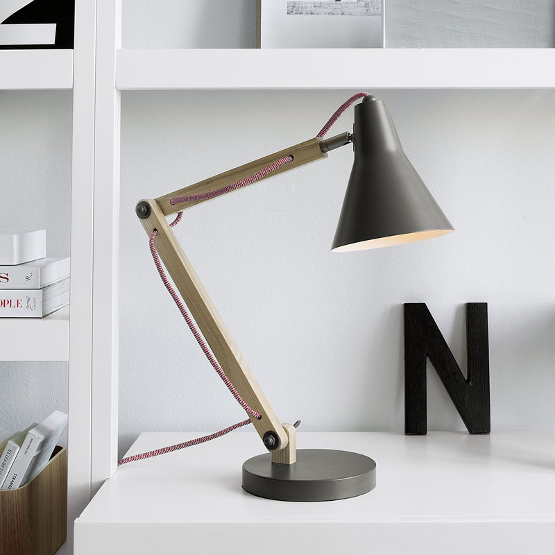 12 Bedside Table Lamps To Dress Up Your Bedroom // Rex Grey Desk lamp by Crate&Barrel.