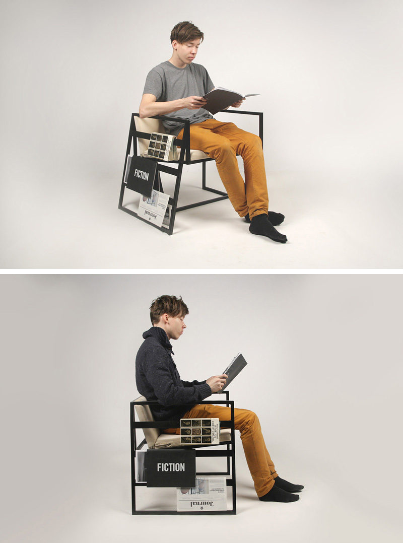 7 Chairs All Book Lovers Will Appreciate // This chair was designed to conveniently hold magazines and newspapers and helps you keep track of your page without bookmarks or dog-earing your pages.