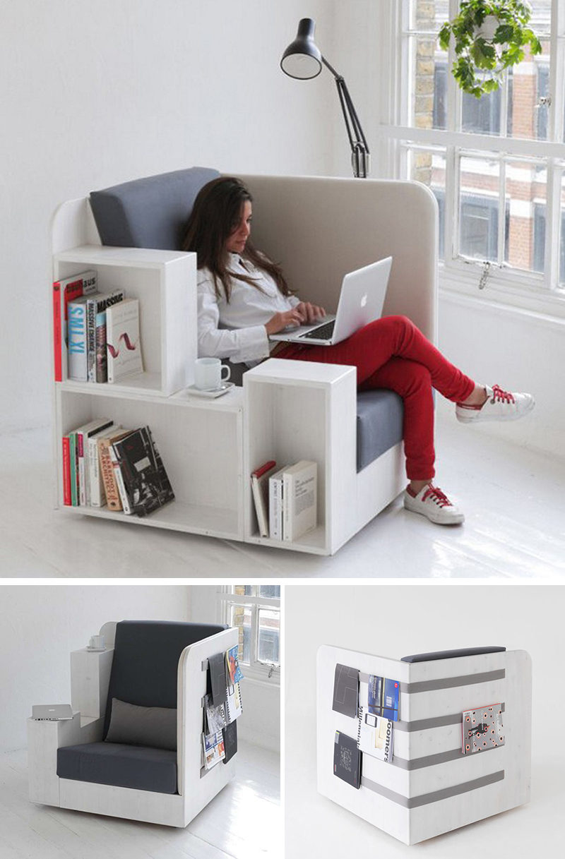 book-storage-chairs_261016_037 Chairs All Book Lovers Will Appreciate // Large cubbies, comfortable cushions, and the perfect spot for resting a cup of coffee or a plate of snacks, makes this chair the one you'll want to spend all day in.