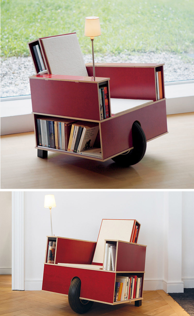 7 Chairs All Book Lovers Will Appreciate // This movable chair was designed to allow you to take your favorite reading chair to your favorite reading spot - and with the built in light, it doesn't even have to be a well lit spot!