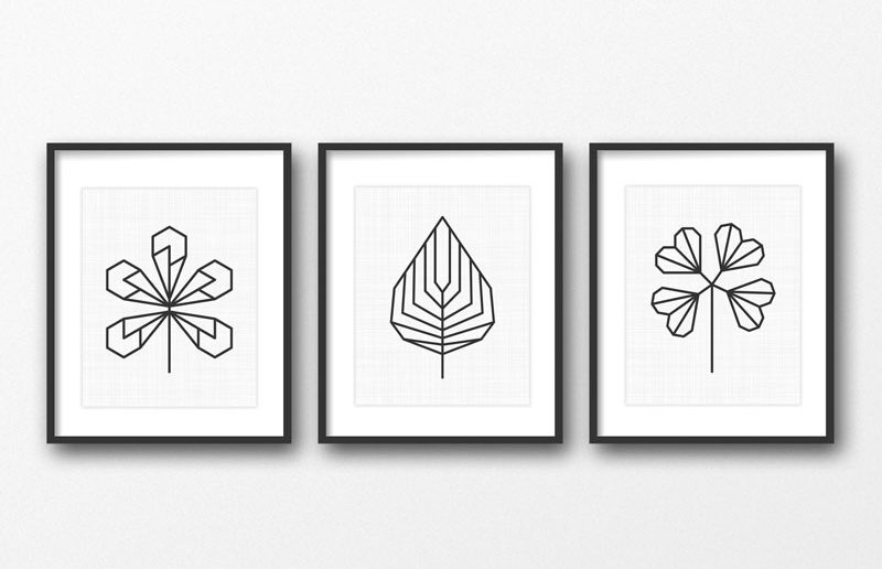 17 Ways To Introduce Botanical Designs Into Your Home Decor // These three prints are great for people who prefer a more geometric type of art but still want to get in on the botanical action.