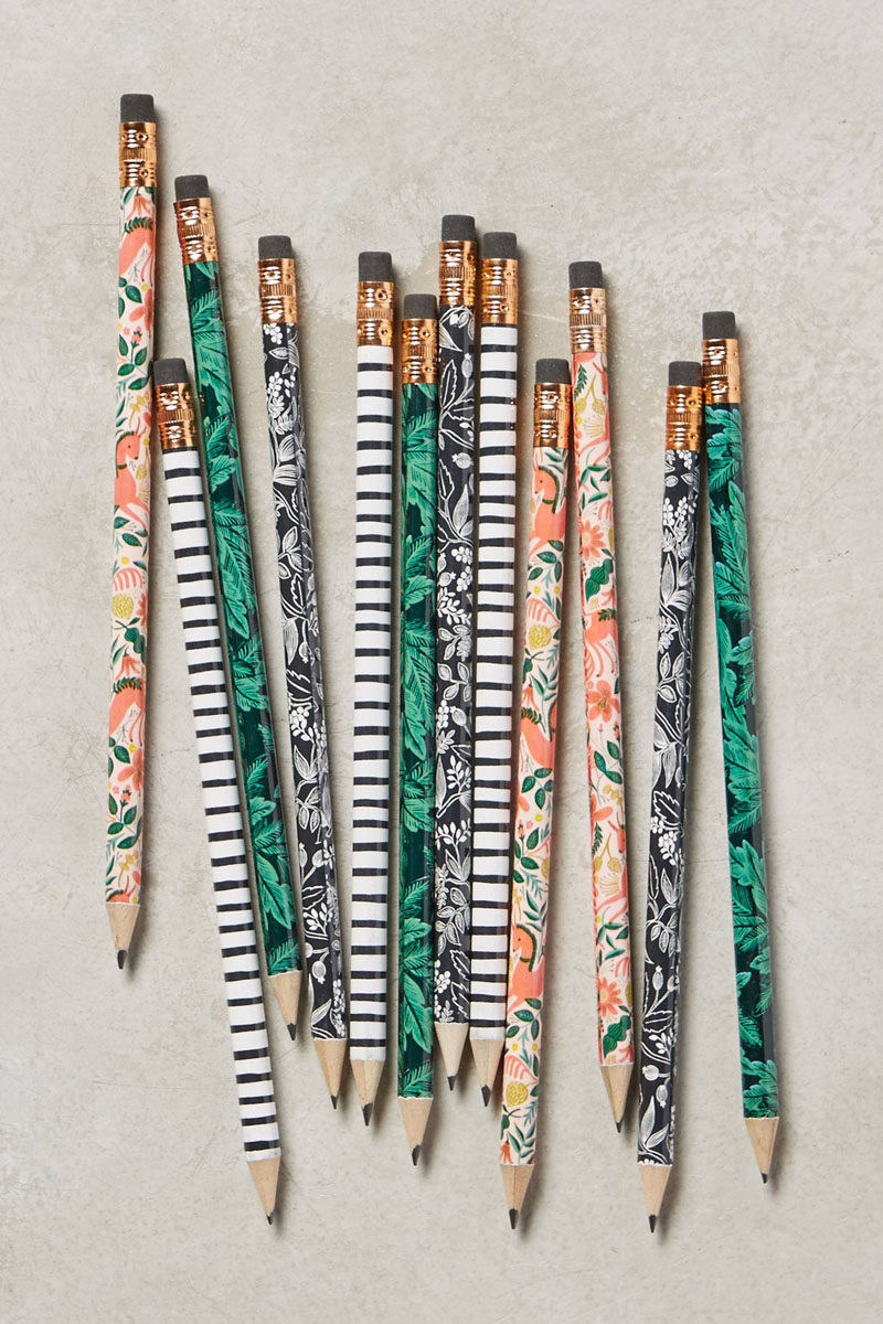 17 Ways To Introduce Botanical Designs Into Your Home Decor // Stick these botanical pencils in a jar and you can practically pretend you've got real flowers sitting on your desk.