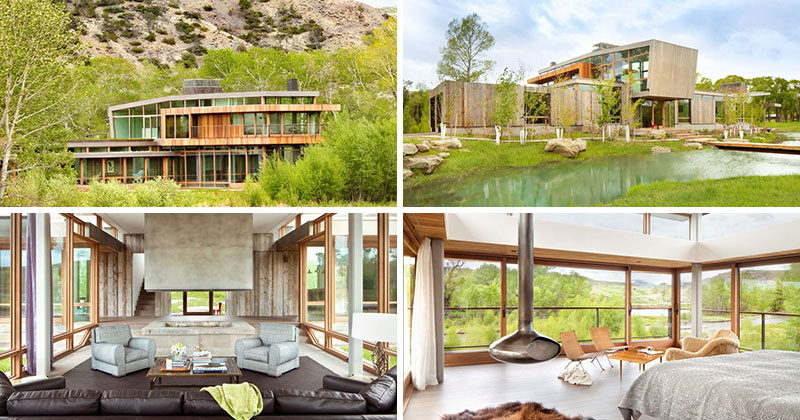 This ranch home in Montana is surrounded by hills, trees and rivers.