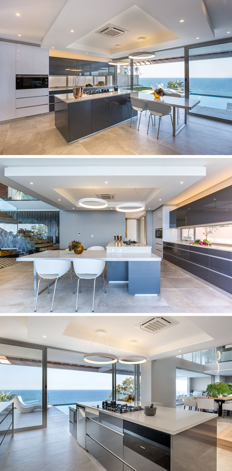 This modern kitchen has a built-in casual dining space, and sleek cabinetry without any hardware makes for a clean, minimal kitchen design.