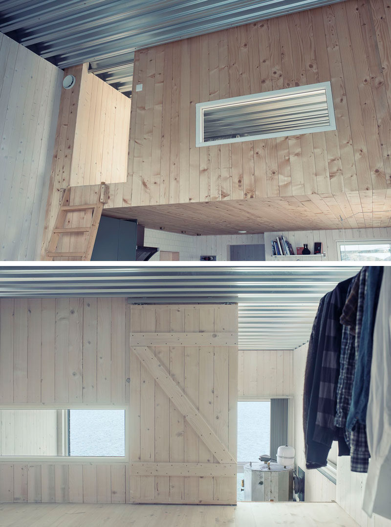 This small home in Norway has a lofted bedroom and exposed metal sheet ceiling.