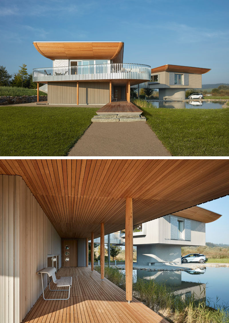 Wooden elements, like this covered entryway, feature heavily in this German home.