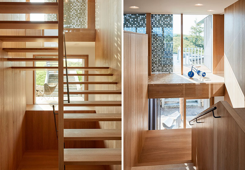 These simple wooden stairs have a view of the garden as you walk up and down them.