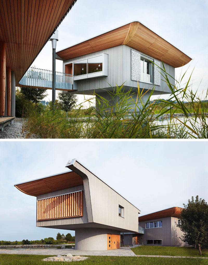 This guesthouse is attached to the main house via a bridge.