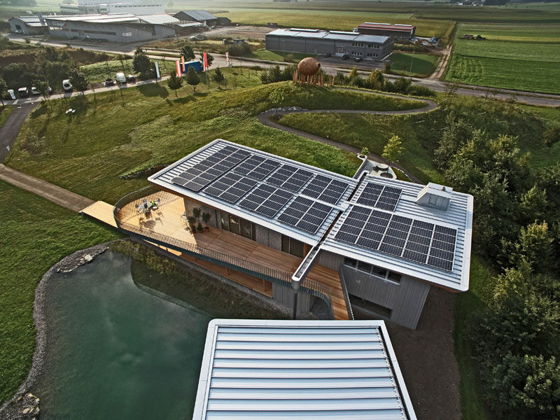 To make this house in Germany more environmentally friendly, the architects covered the roof in solar panels.