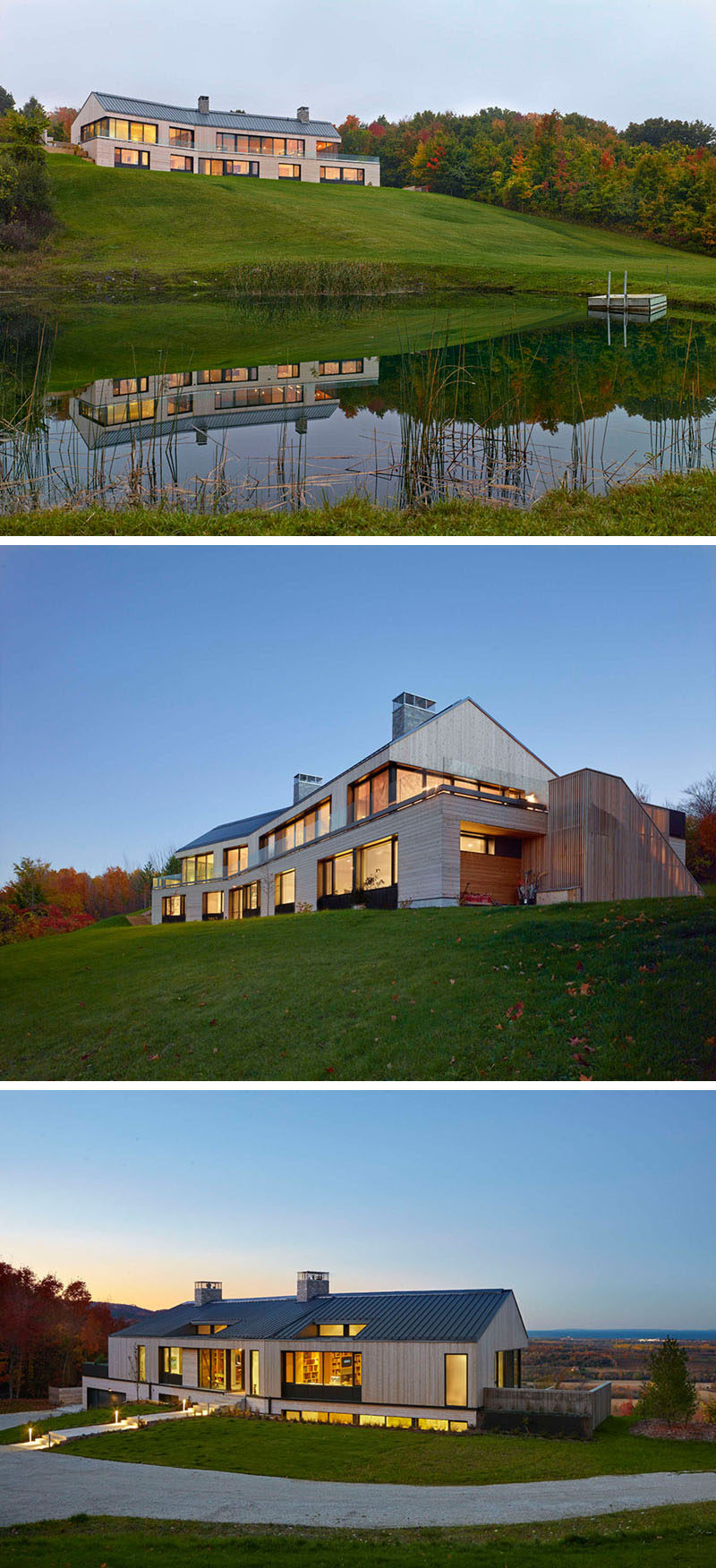 This house is positioned in a clearing between a boreal forest, that opens up to allow the house to enjoy panoramic views of Georgian Bay in the distance.