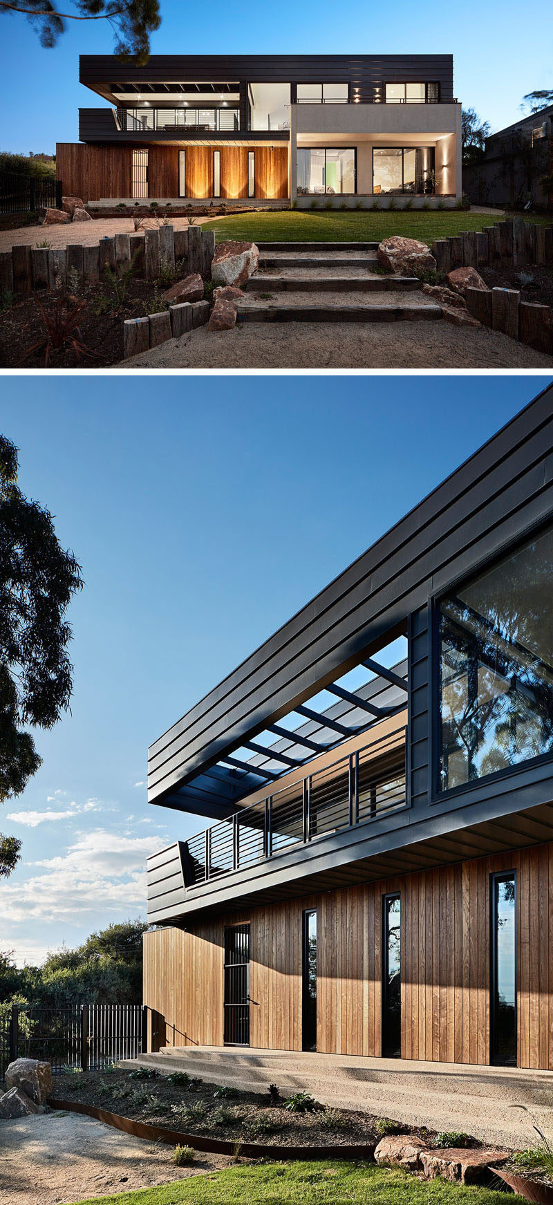 This contemporary house by Bryant Alsop Architects, was designed for a semi-retired couple and their dog, who wanted a private haven to entertain guests, and at the same time engages with the surrounding trees and bay views.