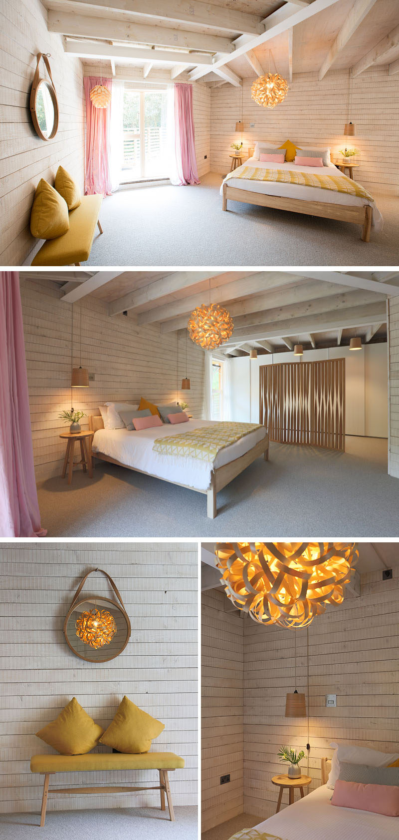 In this bedroom, light wood walls and soft colors have been used to create a bright and open space,