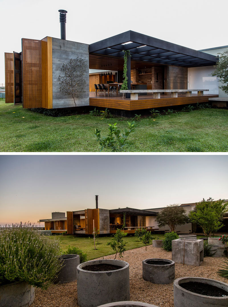 mf+arquitetos have designed this house in Franca, Brazil, that features a palette of wood, concrete, stone and Corten steel.