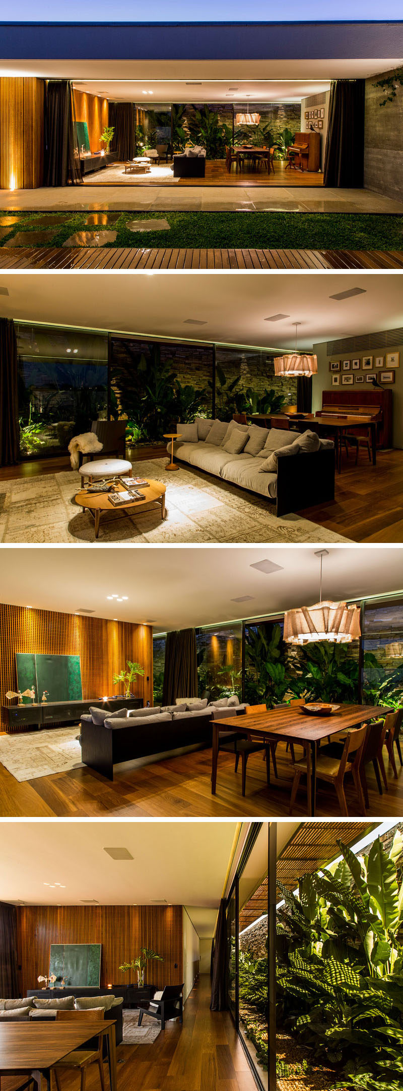 Just to the side of this swimming pool is the living room and another dining area of this home. The open floor plan also opens up on the other side to a section of tropical plants.