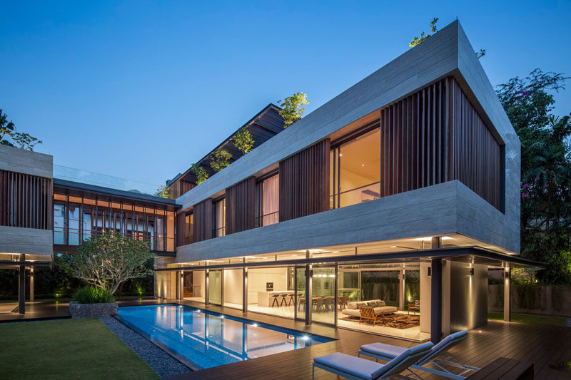 Singapore based Wallflower Architecture + Design were asked by their client to design a luxurious, tropical, contemporary family home.