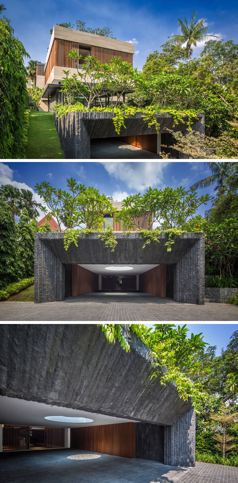 Upon entering through the front gate of this Singaporean home, a cave-like entrance guides to into the home.