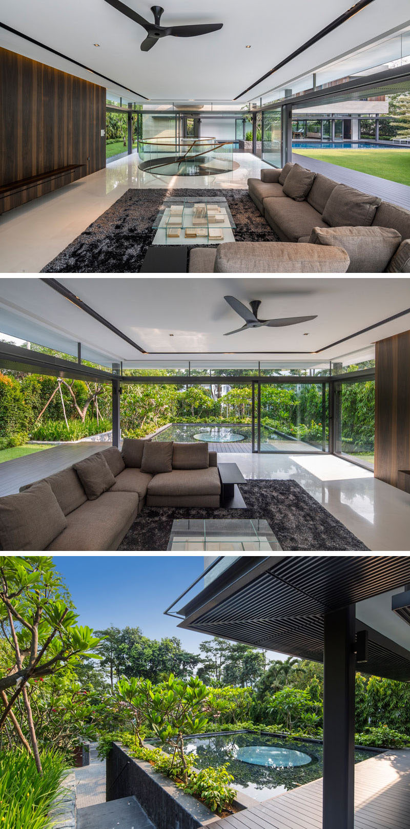 This living area opens up to the garden and a water feature.