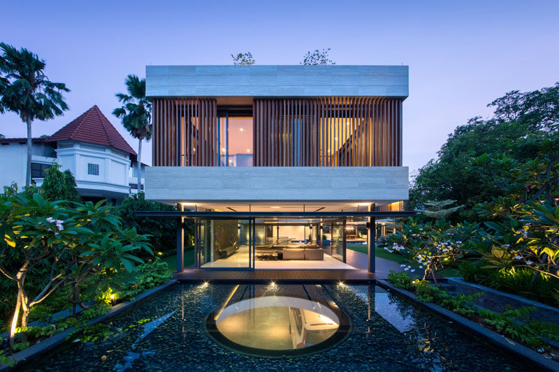 This water feature has a skylight in the middle of it to provide light to the entrance of the home below.