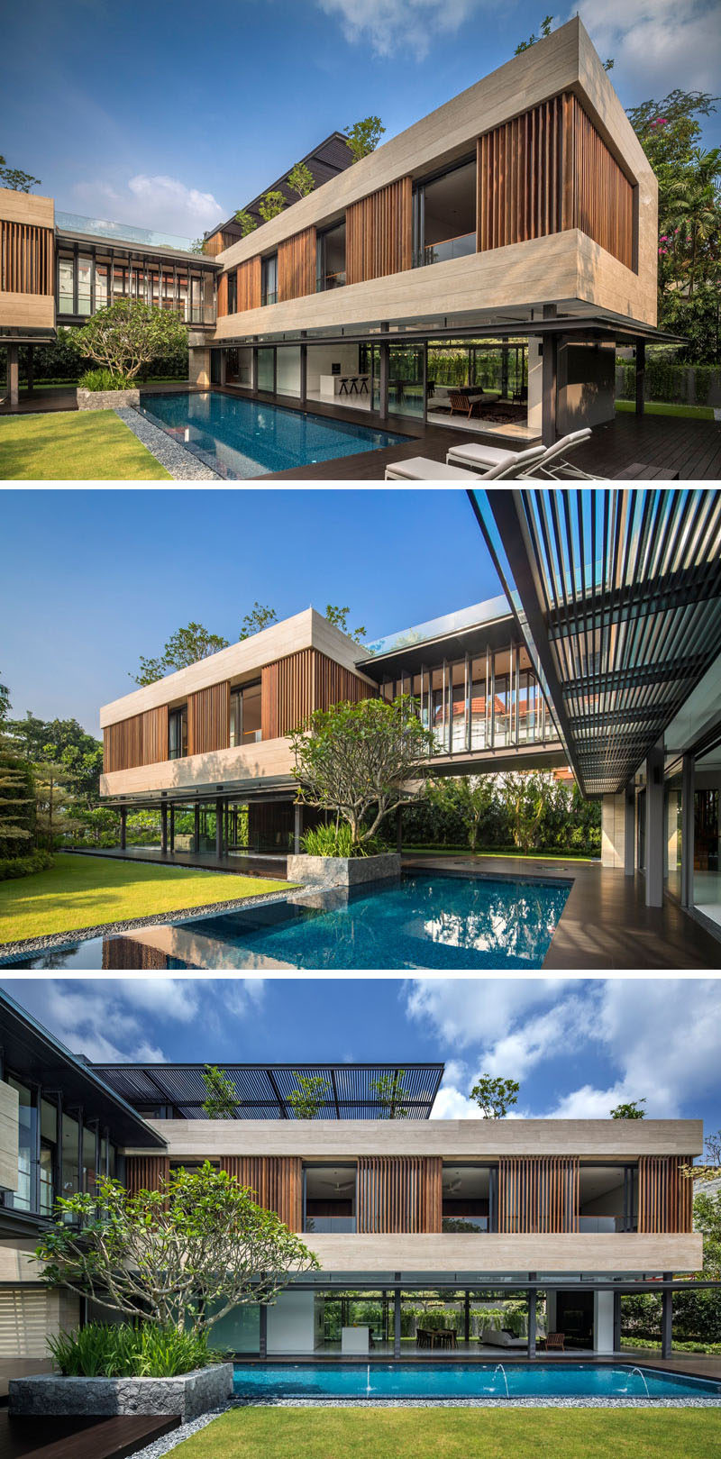 This Singaporean home has a lush garden, swimming pool, and a top floor wrapped in wooden louvers.
