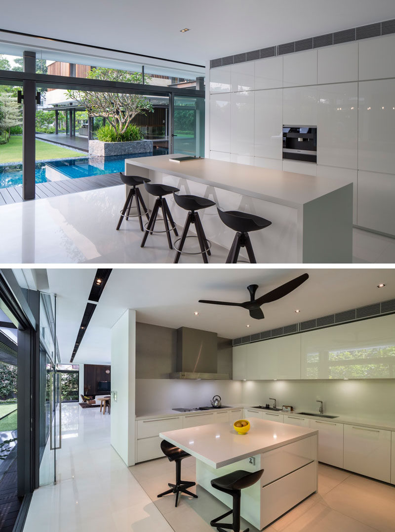 This kitchen is split up into two areas, a dry kitchen and a wet kitchen. The dry kitchen does not have any water available or cooktop, it's more for serving, however around the corner is the wet kitchen, with everything that a normal kitchen would have.