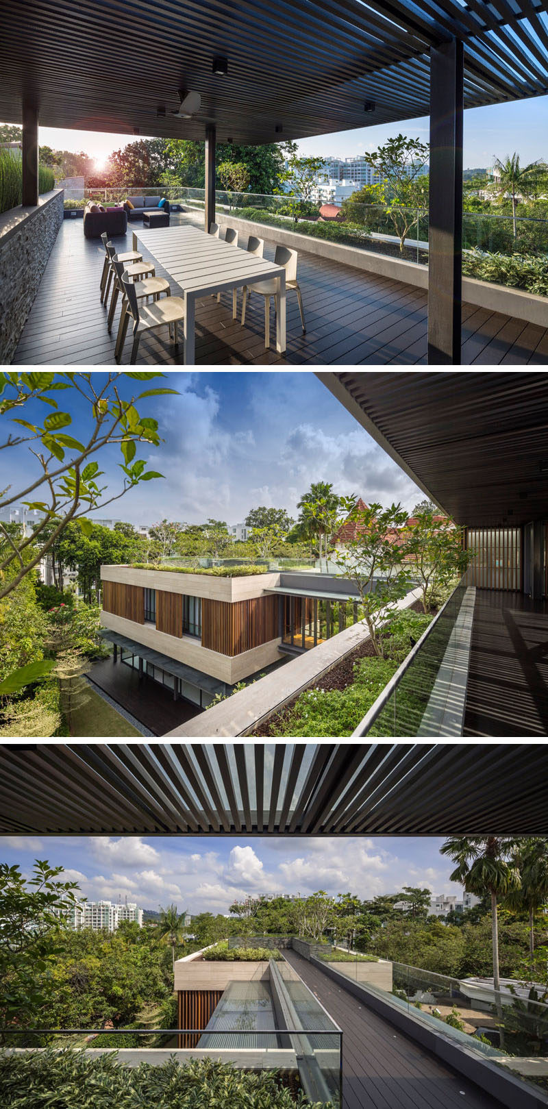 This home has a roof top deck split into two areas, that both have views of the surrounding area.