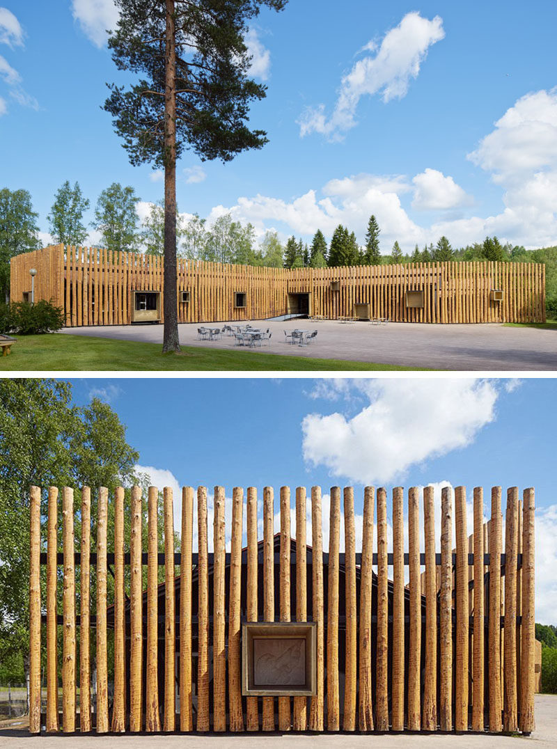 Exterior Design Ideas - 15 Buildings That Have Unique And Creative Facades // Wooden logs adorn the exterior of this forest museum in Sweden.