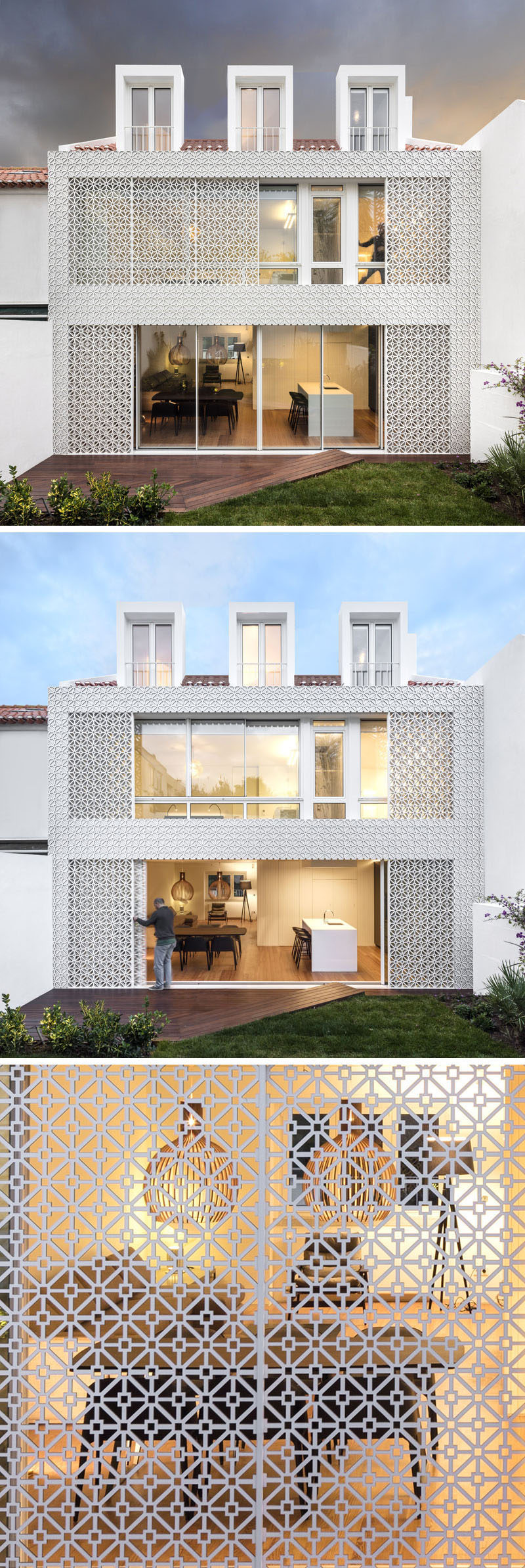 Exterior Design Ideas - 15 Buildings That Have Unique And Creative Facades // The white screen covering this home acts as a security measure and filters sunlight to help keep the house naturally cool.