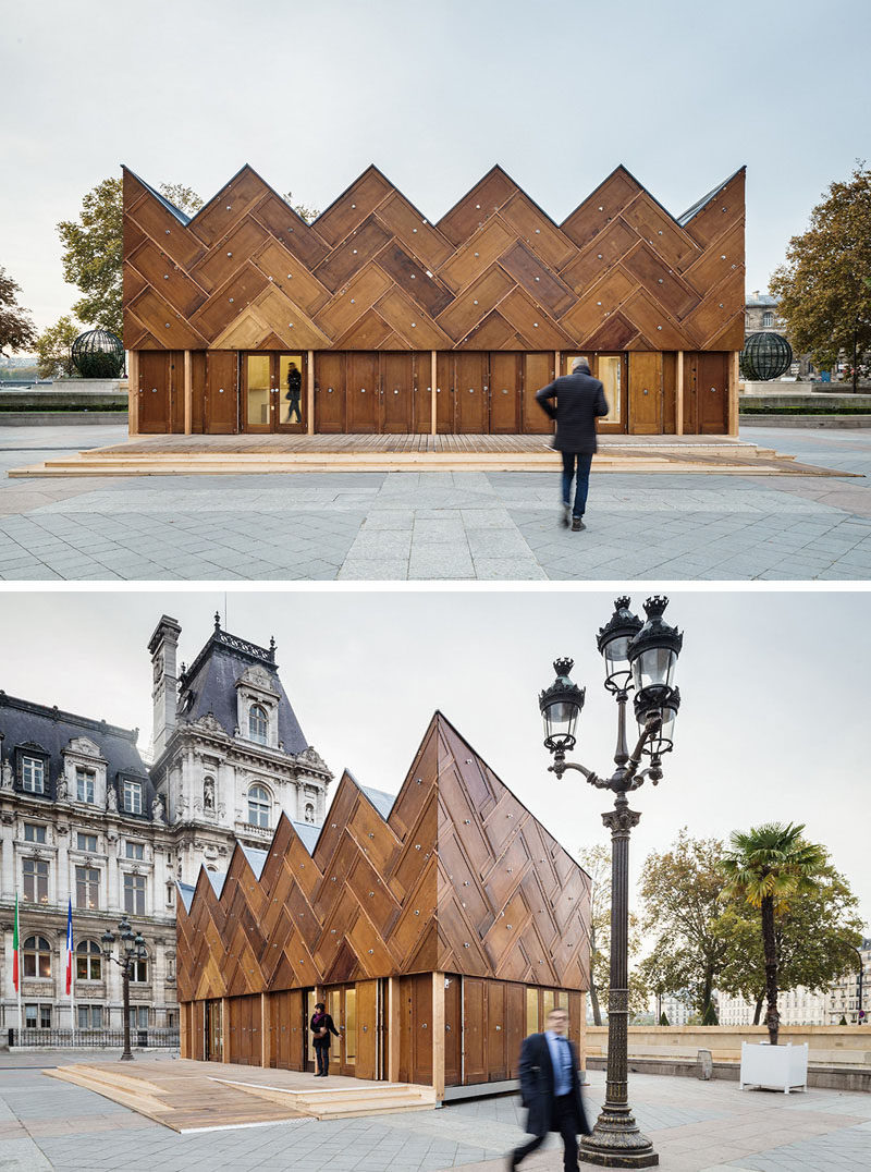Exterior Design Ideas - 15 Buildings That Have Unique And Creative Facades // 180 recycled wooden doors make up the facade of this pavilion while other recycled elements were used to build the rest of the structure.