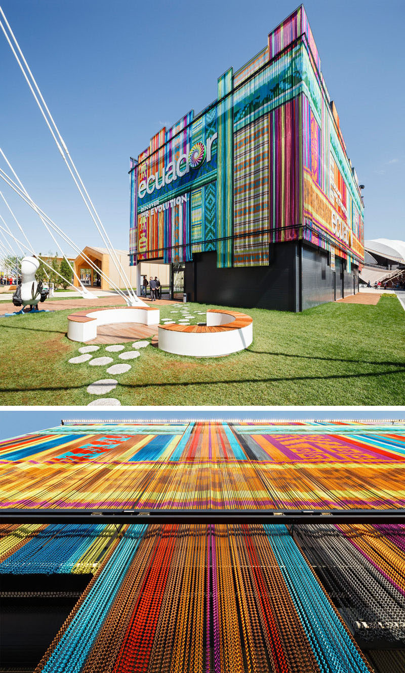 Exterior Design Ideas - 15 Buildings That Have Unique And Creative Facades // Aluminum chains on the exterior of this Ecuador Pavilion form colorful curtains with folkloric motifs inspired by traditional textiles of the region.