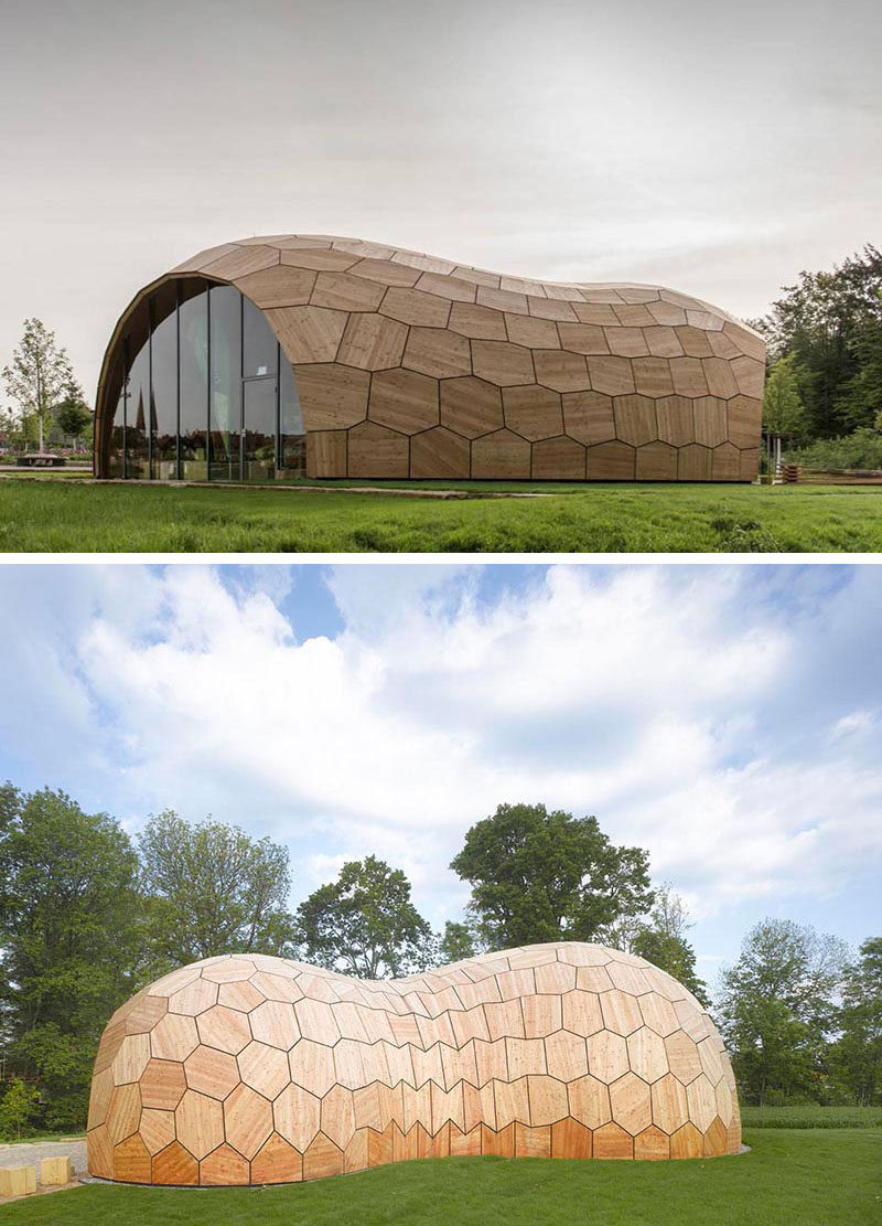 Exterior Design Ideas - 15 Buildings That Have Unique And Creative Facades // Large wooden tiles in various shapes cover this exhibition hall that was built and designed in part by robotics.