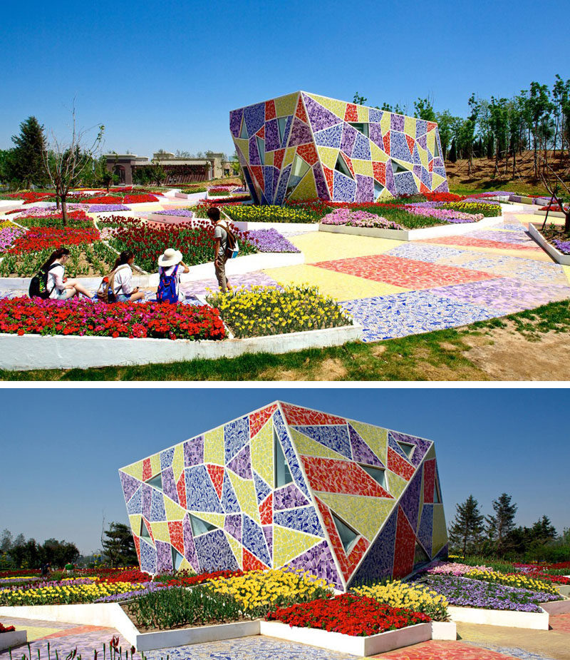 Exterior Design Ideas - 15 Buildings That Have Unique And Creative Facades // The exterior of this public building is covered with broken pieces of local ceramics to create a colorful mosaic that matches the benches and walkways throughout the rest of the park.