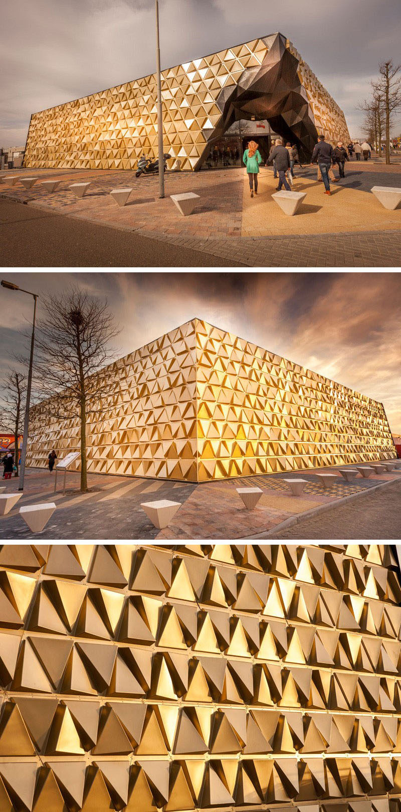 Exterior Design Ideas - 15 Buildings That Have Unique And Creative Facades // Gold triangular panels positioned at various angles give this building, designed for gold dealer and goldsmiths, a shimmering, reflective facade.