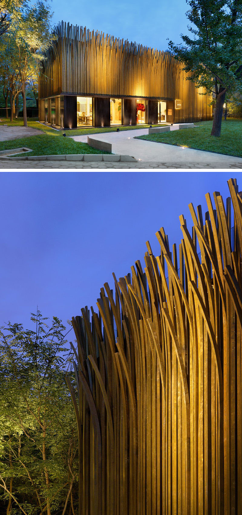 "Exterior Design Ideas - 15 Buildings That Have Unique And Creative Facades // 1200 pieces of brass tubing were turned into ""grass leaves"" that oxidize and naturally change color with the seasons, creating an ever changing facade on the pavilion."