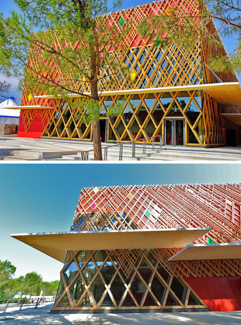 Exterior Design Ideas - 15 Buildings That Have Unique And Creative Facades // The exterior of this theatre is covered by a lattice-like grid pattern with pops of color scattered throughout it.