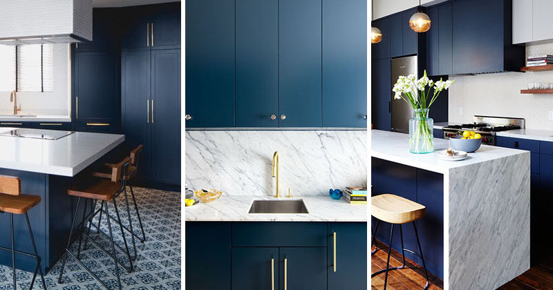 Kitchen design idea deep blue kitchens contemporist for Dark blue kitchen paint