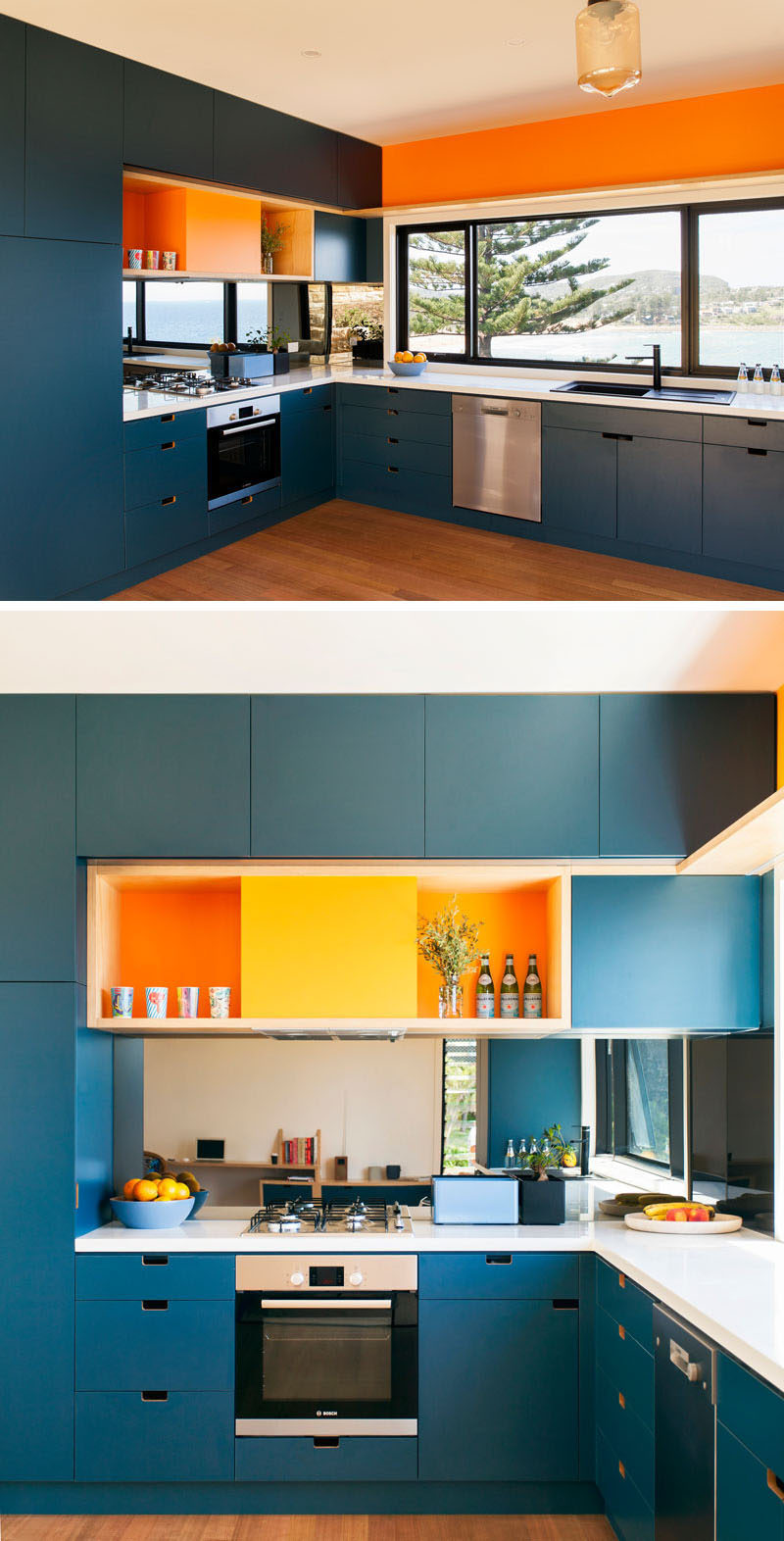 Kitchen Design Ideas - Deep Blue Kitchens // Orange and blue brighten up this kitchen and inject it with a touch of fun.