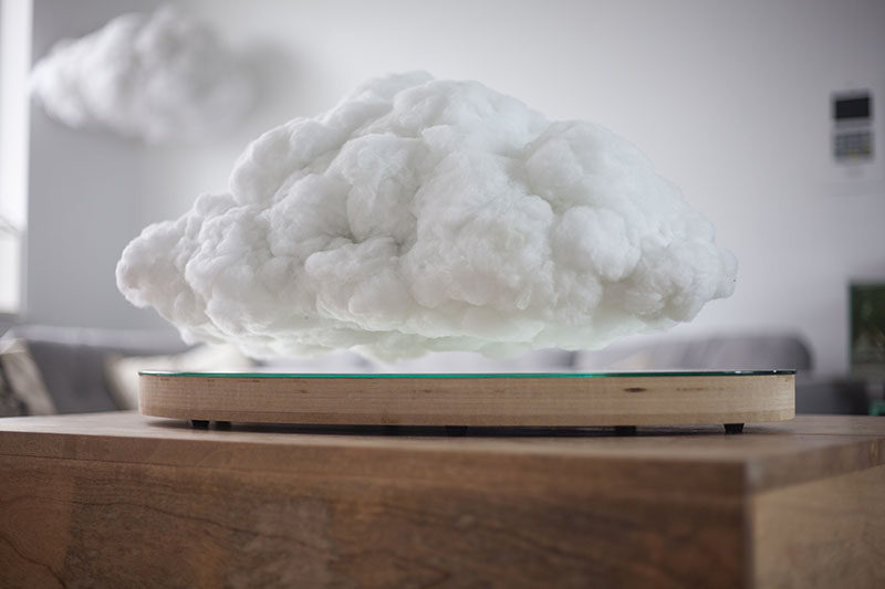 This floating cloud is a speaker that reacts with thunder and lightning depending on what's happening in the music.