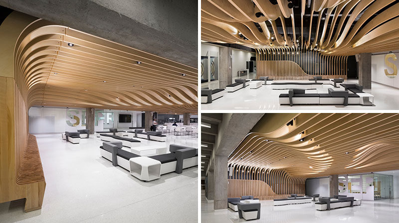 Interior design ideas the wooden seating in this student center continues up the wall and