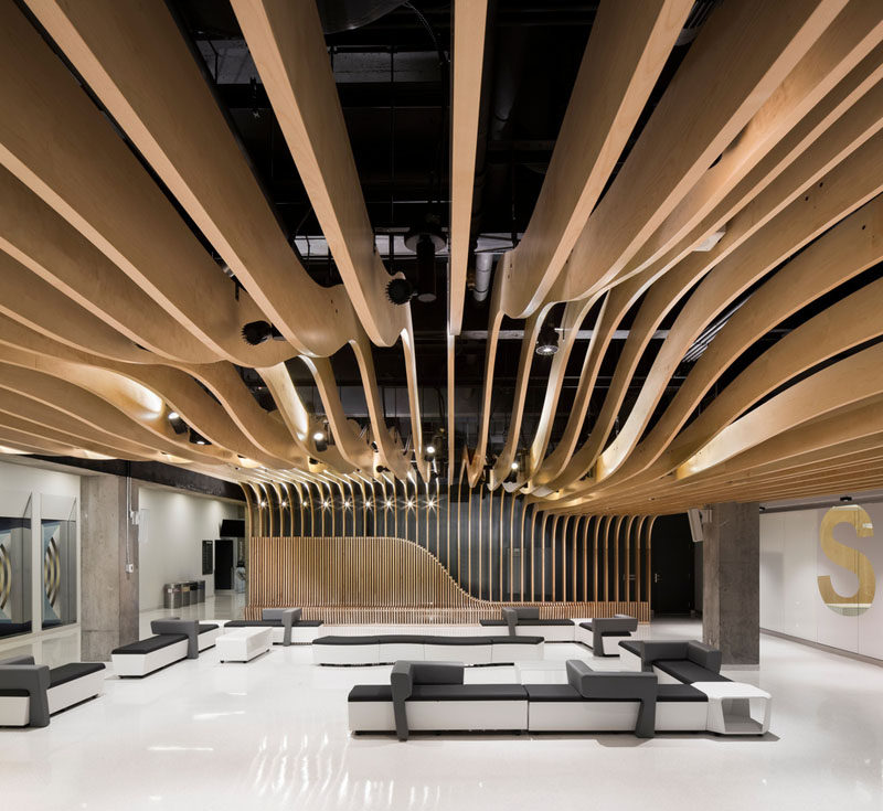 The Seat Along The Wall Becomes A Dramatic Sculptural Wood