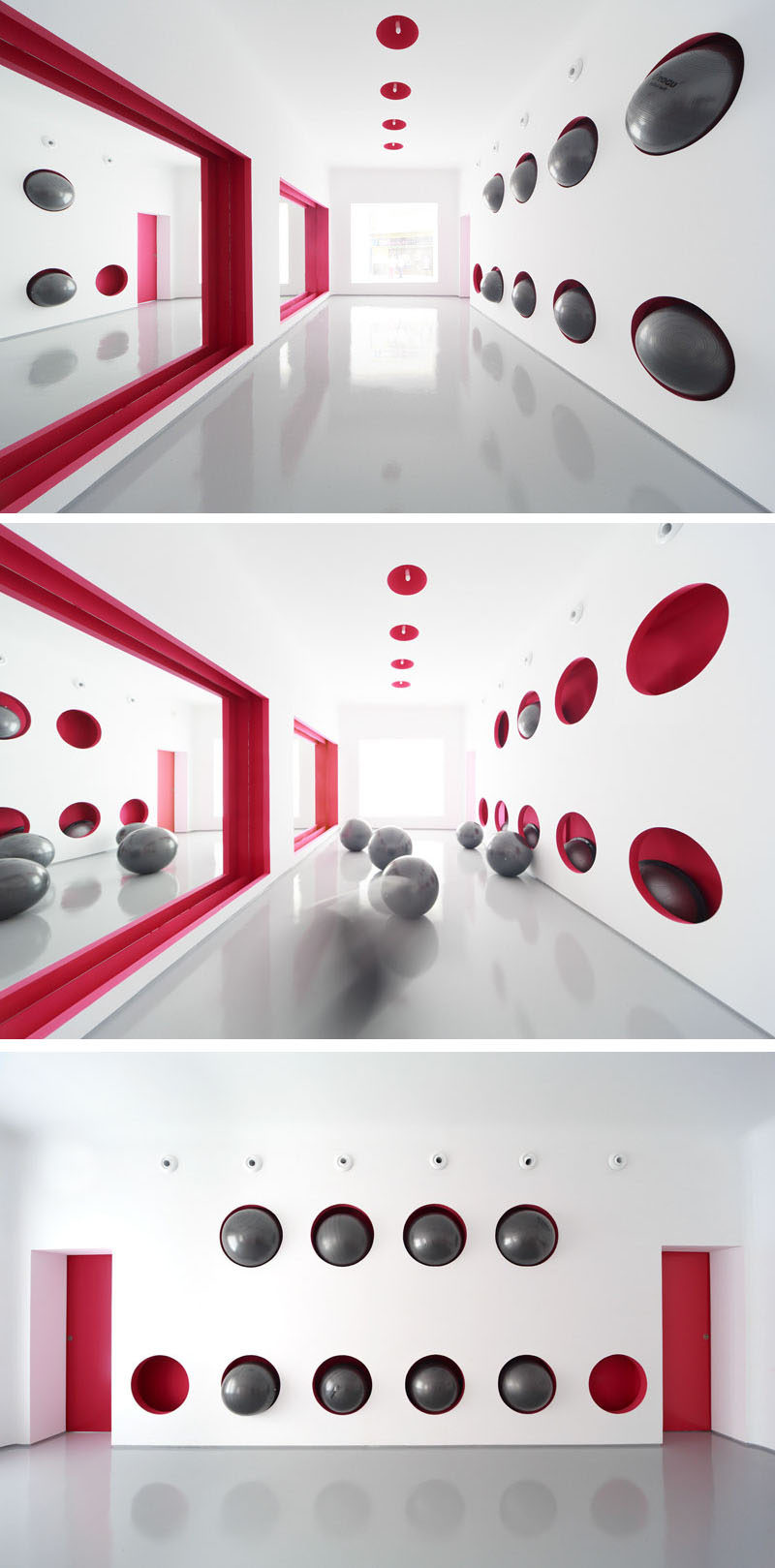 Storage Ideas - This Gym Has A Wall That Was Designed To Hold Exercise Balls