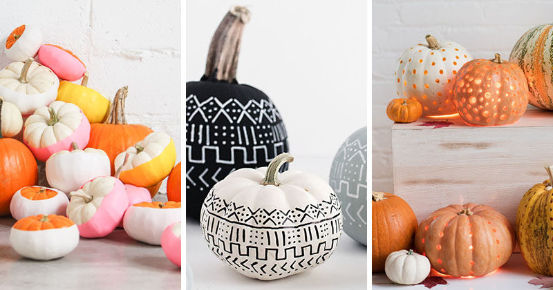 13 Modern DIY No-Carve Halloween Pumpkin Ideas