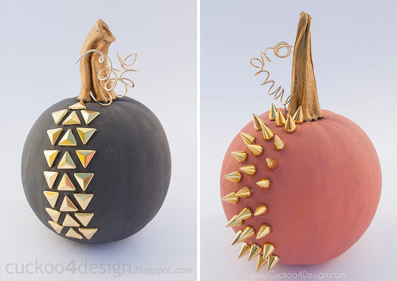 13 Modern DIY Halloween Pumpkin Ideas // Create these edgy matte pumpkins using chalk paint and studs.